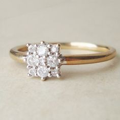 Vintage 25 Carat Diamond Engagement Ring 9k Gold by luxedeluxe, $238.00