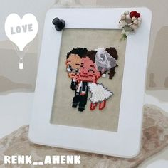 Wedding frame - Couple hama mini beads by renk__ahenk