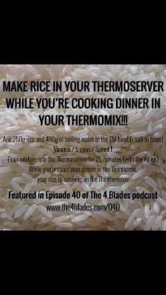 Make rice in your Thermoserver while cooking in the Thermomix! Asian Recipes, Healthy Recipes, Savoury Recipes, Healthy Food, Cooking Tips, Cooking Recipes, Bellini Recipe, Tupperware Recipes, Quirky Cooking
