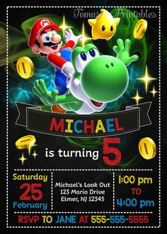 Super Mario Birthday Invitation, Mario Invite, Super Mario Printables