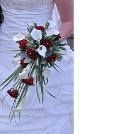 Red rose and calla structured shower bouquet