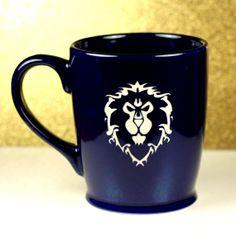 World of Warcraft Alliance inspired coffee mug sandblasted by GlassBlastedArt, $20.00