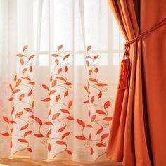 Burnt Orange Kitchen Curtains Home Voiles Stunning Leaf Trail Rod