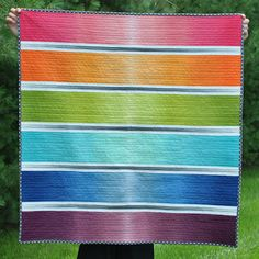 rainbow quilt -- love the  gray strips between the rainbow strips  Moda V and Co Simply Color Ombre Graphite Grey