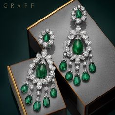 New from the workshop – Exquisite Emeralds. These baroque emerald and diamond earrings feature a selection of rare emeralds including a 10 carat cabochon drop at the centre of each jewel. #GraffDiamonds #Emeralds