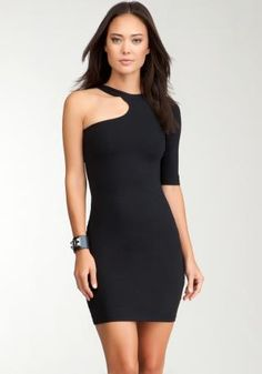 Front Cut One Sleeve Bodycon Black Dress