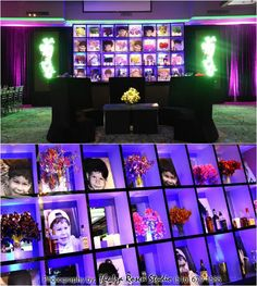 Bar & Bat Mitzvah Ideas - Personalized Photo Wall with Baby Photos & Cool LED Lighting {Ira Rosen Photography, Gala Event and Food Artistry NY} - mazelmoments.com
