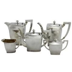 Early 20th Century Art Deco Five-Piece Chinese Silver Tea and Coffee Set
