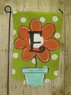Burlap Garden Flag Flower Pot and Monogram Yard by Burlapulous
