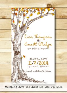 Save the Date Magnets - Autumn Tree with Carved Initals - Set of 50 Fall Wedding Invitations, Save The Date Invitations, Wedding Stationary, October Wedding, Autumn Wedding, Rustic Wedding, Casual Fall Wedding, Invitation Fete, Carton Invitation