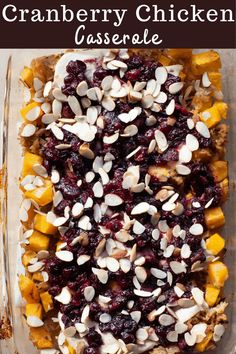 Cozy up to sweet, savory, tangy flavor with this Cranberry Chicken Casserole. Made with rice, chicken, and an incredible cranberry, orange juice, soy sauce, maple syrup combo, this dish is a winner for any night of the week. Healthy Dishes, Healthy Recipes, Fall Casseroles, Whole 30 Chicken Recipes, Healthy Chicken Casserole, Cranberry Chicken, Chicken And Butternut Squash, Baked Squash, Chicken And Wild Rice