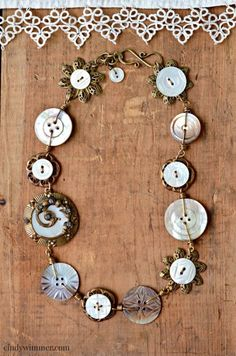 Mother of pearl wirework necklace by Cindy Wimmer