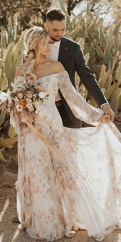 36 Floral Wedding Dresses That Are Incredibly Pretty ❤️ floral wedding dress. 36 Floral Wedding Dresses That Are Incredibly Pretty ❤️ floral wedding dresses sheath off the shoulder with sleeves rue de sheine Western Wedding Dresses, Best Wedding Dresses, Boho Wedding, Wedding Bride, Bridal Dresses, Wedding Gowns, Floral Wedding Dresses, Lace Weddings, Summer Wedding