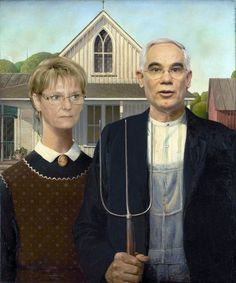 Shop Grant Wood - American Gothic Poster created by Amazing_Posters. Personalize it with photos & text or purchase as is! American Gothic Painting, American Gothic House, Grant Wood American Gothic, American Gothic Parody, American Art, American Literature, Most Famous Paintings, Famous Artwork, Popular Paintings