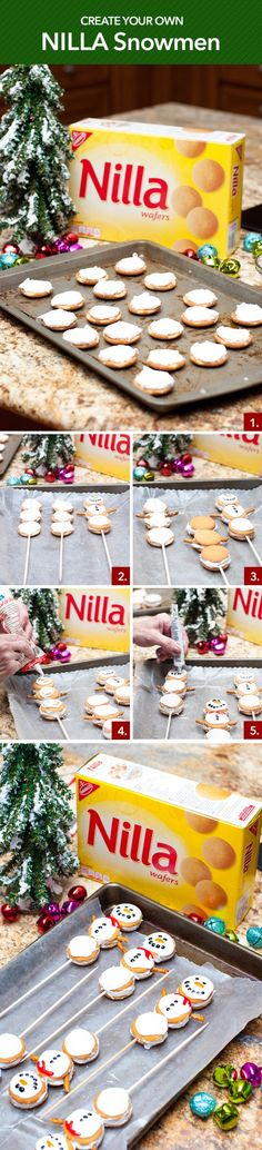 Creating NILLA Snowmen is such a fun way to celebrate the holidays with your kids. This hands-on activity allows you and your child to showcase your creativity by decorating the snowmen however you choose! For one snowman, lay out 3 frosted NILLA Wafers vertically and append a skewer to connect the body. Add 3 more frosted NILLA Wafers on top of the original set to form a snowman. Decorate with gel icing and use pretzels for arms.
