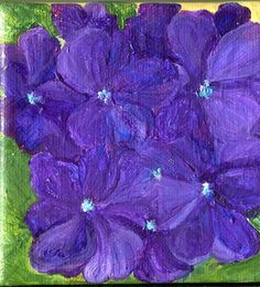 Purple Hydrangeas mini painting on Canvas with by SharonFosterArt