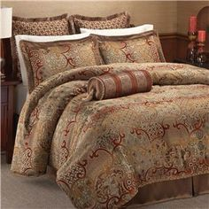 gold brown rust queen size bed comforter set - Google Search