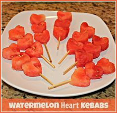 These kebabs are easy to make, fun for the kids, and perfect for a summertime treat! http://www.ifood.tv/recipe/watermelon-heart-kabobs