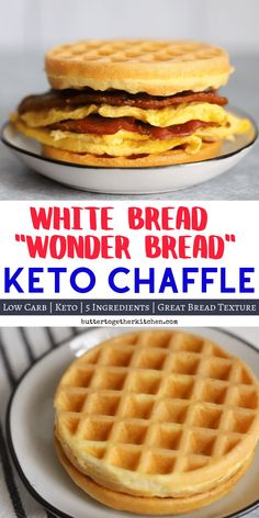 White Bread Keto Chaffle - This chaffle recipe is the best quick and easy keto replacement to white bread with a fantastic bread-like texture! Just like the delicious wonder bread. #ketochaffle #whitebreadchaffle #breadchaffle #wonderbreadchaffle | buttertogetherkitchen.com