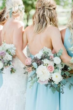 Garden style bouquets of soft palette of pinks, white, and greenery by Array Design, Phoenix, Ariziona. Spring Wedding Bouquets, Summer Wedding, Bridesmaids And Groomsmen, Bridesmaid Bouquet, What Is Gardening, Wedding Rehearsal, Arizona Wedding, Wedding Trends, Wedding Ideas