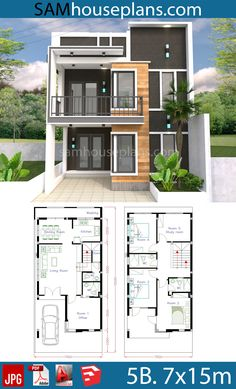 House Plans with 4 Bedrooms - Sam House Plans Office houses design plans exterior design exterior design houses home architecture house design houses Two Storey House Plans, 2 Storey House Design, Duplex House Plans, Simple House Design, Bungalow House Design, House Front Design, Dream House Plans, Modern House Design, Dream Houses
