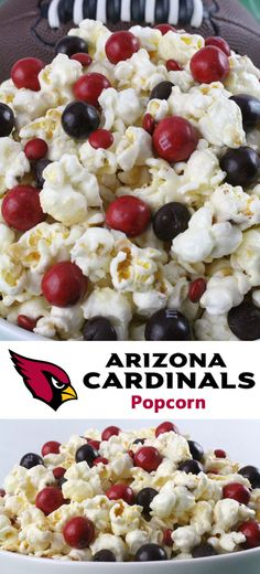 Arizona Cardinals Popcorn for those Arizona Cardinals fans in your life. Sweet, salty, crunchy and delicious and it is extremely easy to make. This delicious popcorn will be perfect at your next game day football party. a NFL playoff party or a Super Bowl party. Follow us for more fun Super Bowl Food Ideas.
