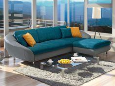 Candela rohová sedací souprava v petrolejové barvě / blue living room sofa