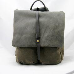 Rucksack Canvas Rucksack mit Leder, Tagesrucksack, Kabine-Tasche auf Etsy, 64,45€