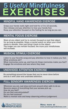 5 Good Mindful Exercises. Practicing any one of these for 1 minute a day consistently can build you a good powerful habit that might really help you out.