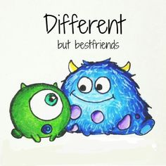 mike and sully; different
