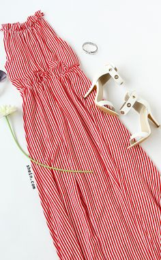 Red Striped Tie Sleeveless Maxi Dress