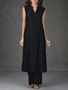 Buy Black Embroidered Chanderi Kurta with Cotton Lining and Tie Up Waist Pants (Set of 2) Women Kurtas Mélange Woven tops dupattas Online at Jaypore.com
