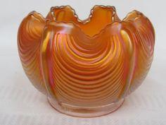 "Carnival Glass: ""Drapery"" Northwood rose bowl in pumpkin marigold. Crystal Glassware, Treasure Hunting, Glass Photo, Vintage Carnival, Shades Of Gold, Rose Bowl, Carnival Glass, Marigold, Milk Glass"