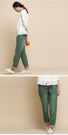 Green  Loose Leisure Cotton Pants 2 colours-p815. $61,00, via Etsy.