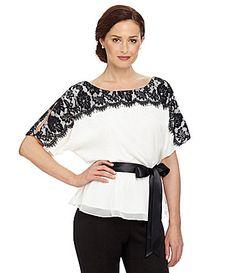 JR Nites LaceYoke SashWaist Top #Dillards paired with a long black skirt