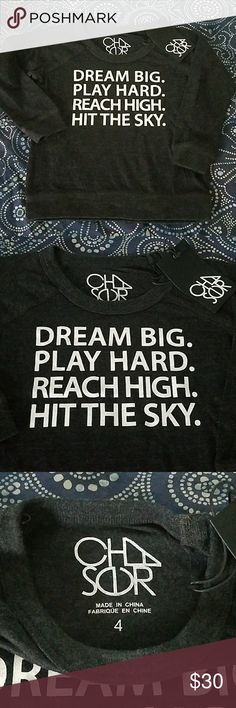 """NWT Chaser Long Sleeve Tee Boys Size 4 New with tags! Chaser Long Sleeved Tee. Boys Size 4. """"Dream Big. Play Hard. Reach High. Hit the Sky"""".  Sorry - no trades. Bundle and save! From a smoke-free home. Chaser Shirts & Tops Tees - Long Sleeve"""