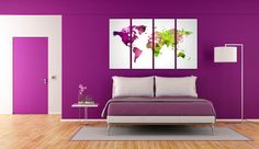 Geometric purle and green Print Canvas Set Modern world map