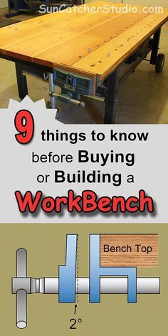 Includes ideas and designs for a garage workbench, dog holes, vise, portable and how to build DIY workbenches. Workbench Plans – (Tips, Ideas… Building A Workbench, Woodworking Workbench, Easy Woodworking Projects, Woodworking Shop, Industrial Workbench, Wood Projects, Woodworking Furniture, Wood Furniture, Woodworking Techniques