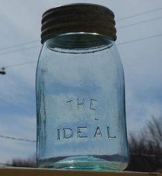 Antique midget size 'THE IDEAL' fruit canning jar FREE SHIPPING!