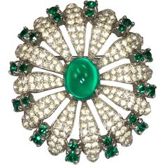 Panetta Green and Clear Rhinestone Flower Brooch Pin