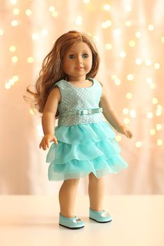 American Girl Doll Clothing - Sparkling-Aqua Party Dress via Etsy.