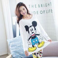Mới Mùa Xuân Mùa Thu Phụ Nữ Dài Tay Áo Bộ Đồ Ngủ Nữ Ngủ Homewear Đặt Bình Thường Phim Hoạt Hình Giấc Ngủ Cô Gái Phòng Chờ Pijama G1285