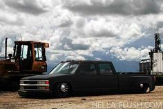 Chevy dually bagged Matte Black!