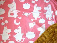 at home: vintage moomin fabric.