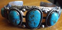 Vintage Antique Genuine Turquoise and Sterling Silver Cuff Bracelet #Cuff