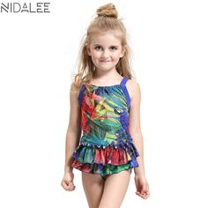 ac04f39444 NIDALEE Girls Swimwear Dress Baby Girl One Piece Print Beachwear Bathing  Suit Children Swimsuit **