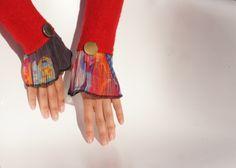 Armstulpen aus rotem Walk - Harlekin