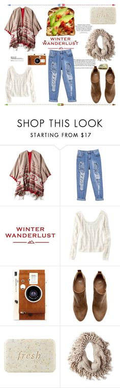 """""""Winter Wanderlust with American Eagle: Contest Entry"""" by bloploop ❤ liked on Polyvore featuring American Eagle Outfitters, LØMO, H&M, Fresh and aeostyle"""