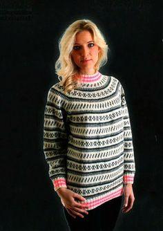 Gratis dame islændersweater med mønster