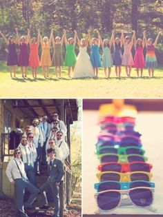 i love the different color bridesmaid dresses